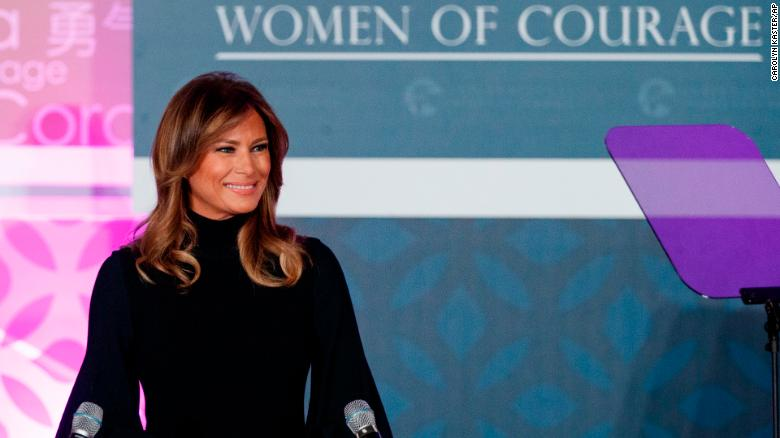 First lady Melania Trump looks to a teleprompter as she pauses while speaking during the 2020 International Women of Courage Awards Ceremony at the State Department in Washington, Wednesday, Feb. 4, 2020. (AP Photo/Carolyn Kaster)